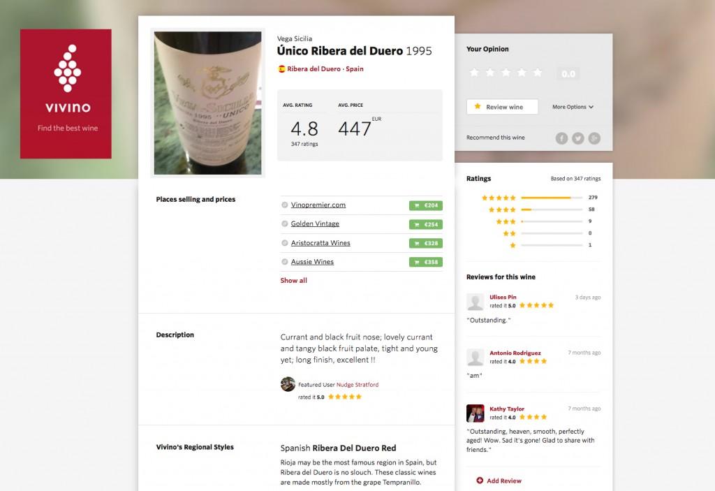 Información del vino. Vivino