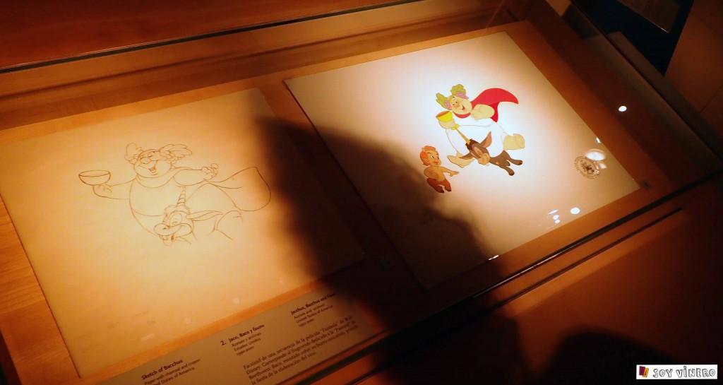 """Jaco, Baco y fauno. Facsímil de la película """"Fantasía"""" de Walt Disney, 1940. Museo Vivanco de la Cultura."""