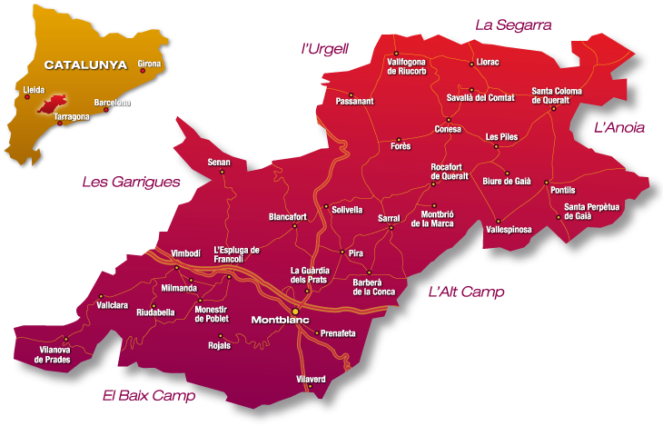 La Conca de Barberà en el norte de la provincia de Tarragona.