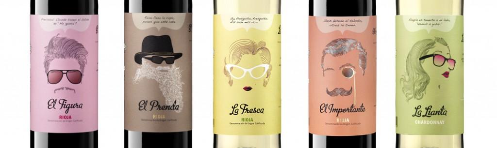Etiquetas colección de vinos Siete Pasos.