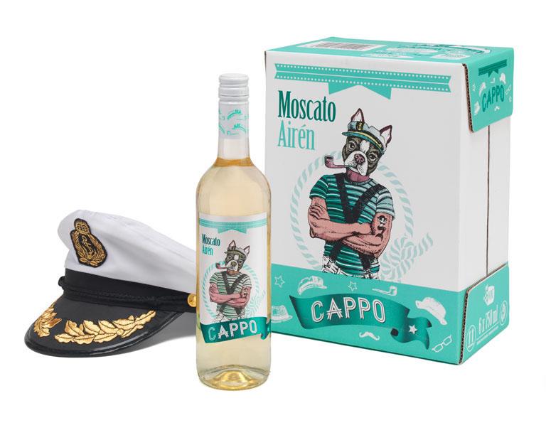 Vino blanco CAPPO diseñado por Miguel Ángel Hernández para bodegas García Carrión.