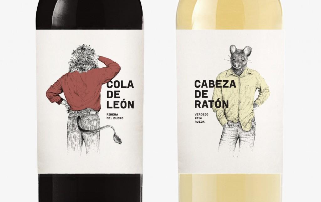 Vino tinto Cola de León y Cabeza de Ratón. Embotellado para Wine Experience.