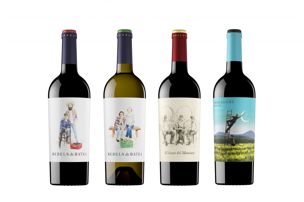 Cuatro vinos presentados de la colección '7 Magnífics'.