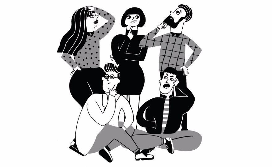 """Los cinco """"dubitativos"""" personajes de VINTO."""