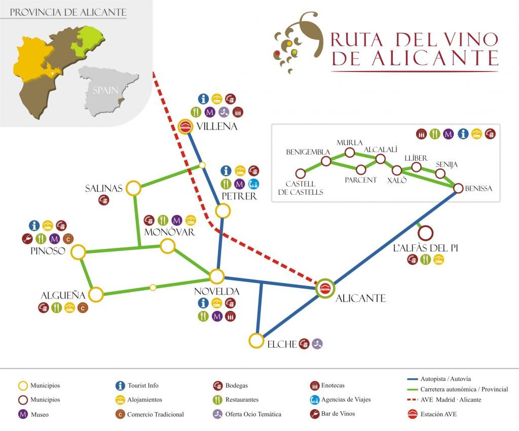 Mapa enoturístico de la Ruta del Vino de Alicante.