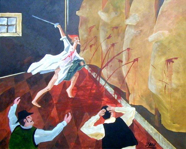 Don Quijote contra los cueros de vino. Pintura de Francisco Sánchez.