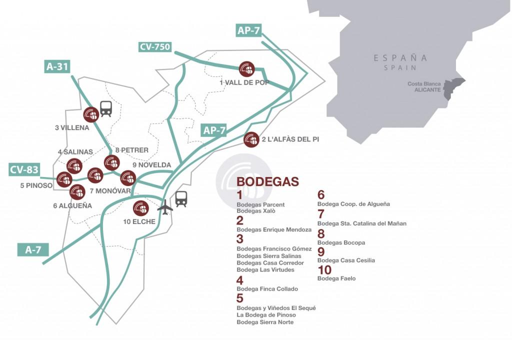 Mapa de bodegas de la Ruta del Vino de Alicante.