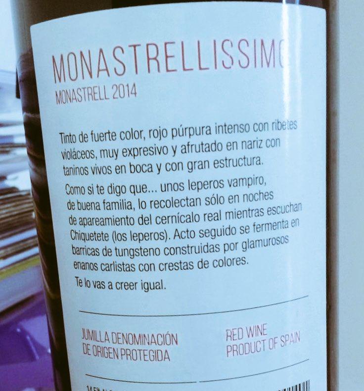 Contraetiqueta 'Monestrallissimo'.