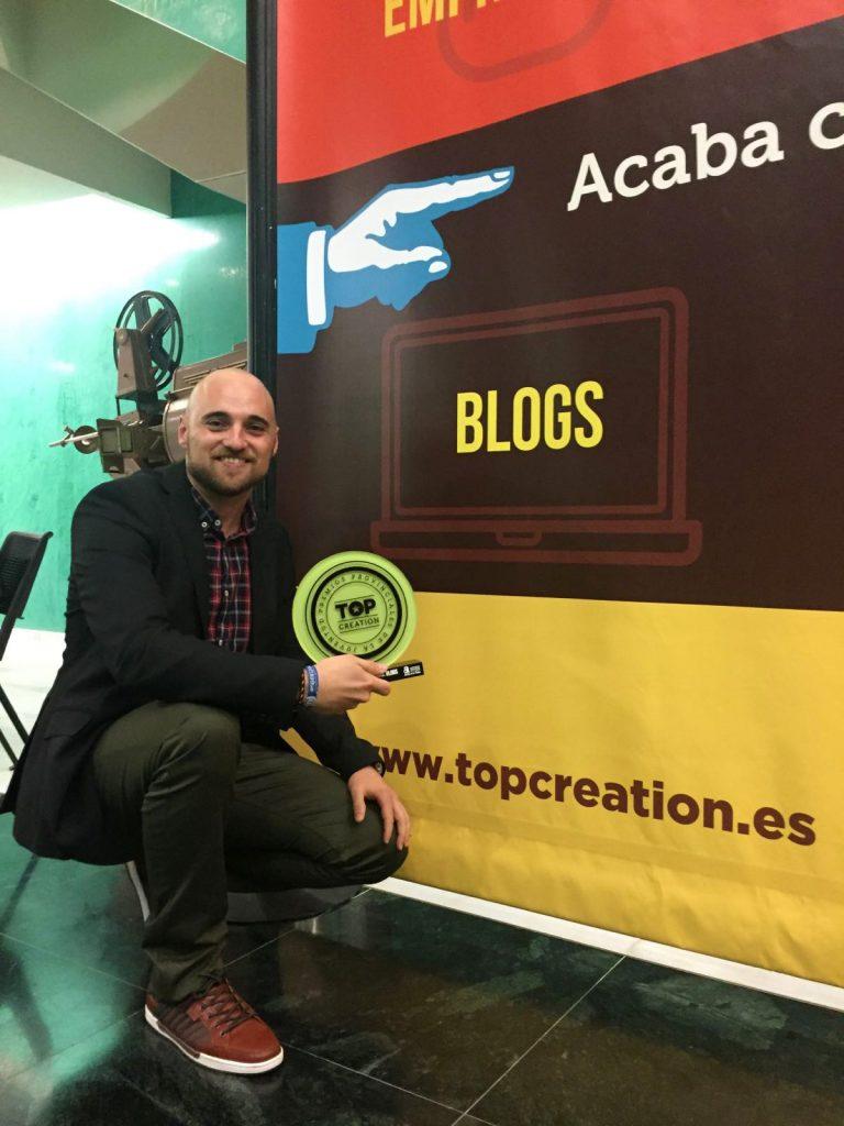 David Martínez Ros con el 'Soy vinero', 2º premio en los #topcreation2016