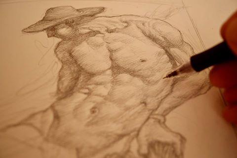 José Antonio Espinar realizando el boceto para 'Celler de la Muntanya'.