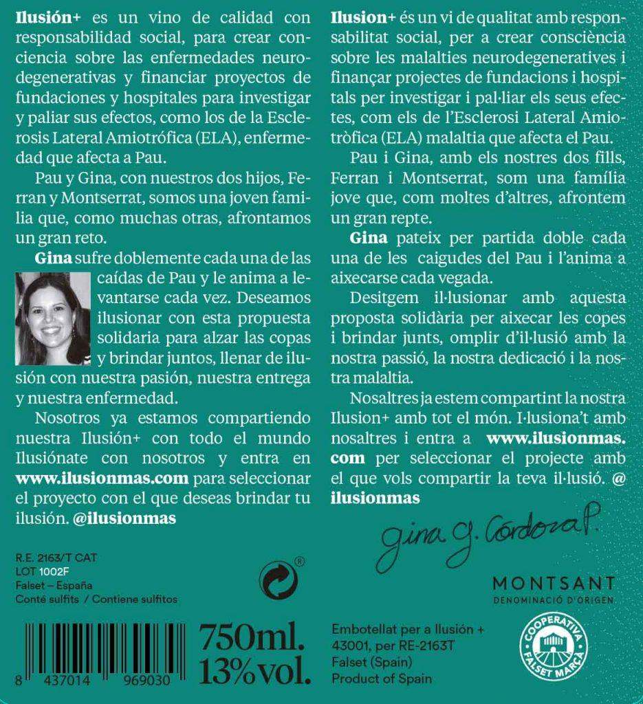 Contraetiqueta del vino 'Gina'. ILUSIÓN+.