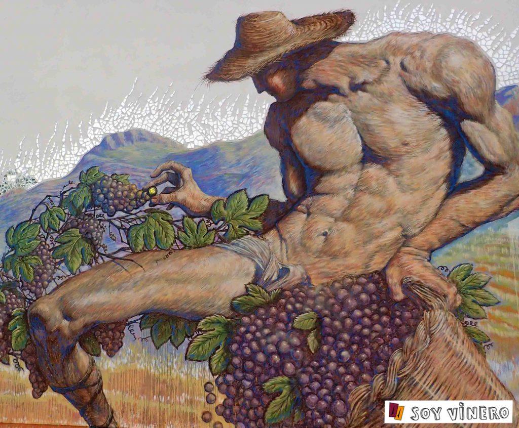 Detalle mural agricultor, 'Celler de la Muntanya'.