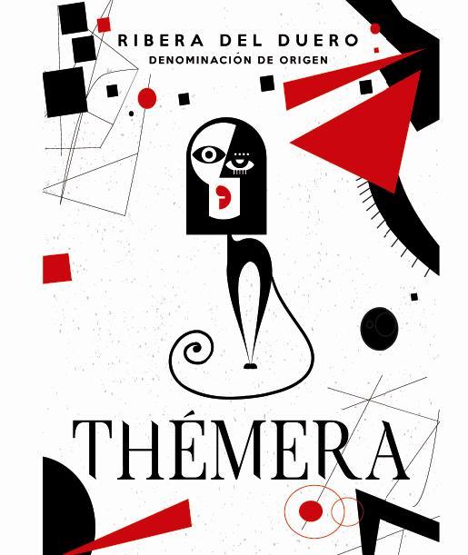 Etiqueta de vino 'Thémera Roble 2015'. Diseño Cerotec Estudio.